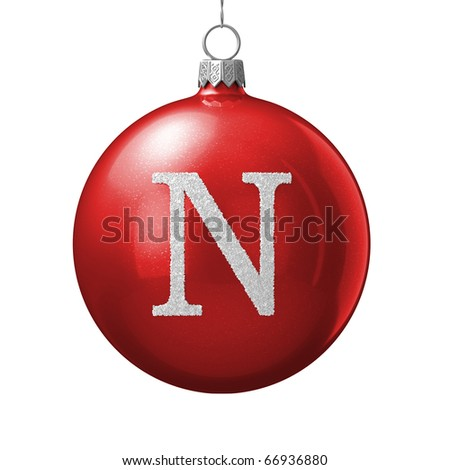 Letter N from cristmas ball alphabet. There is a clipping path - stock photo