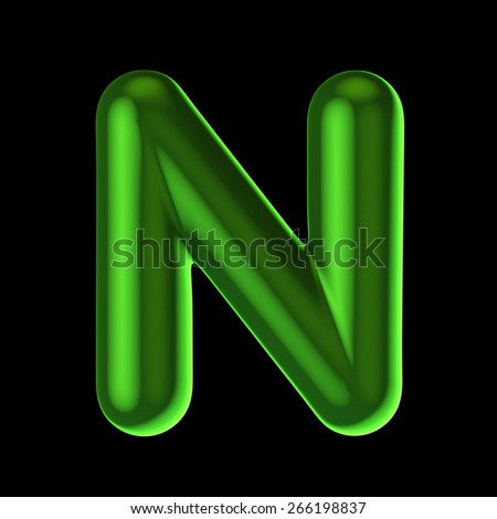 Letter N from round green back light alphabet. There is a clipping path - stock photo