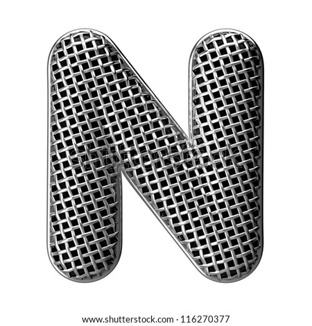 Letter N from round microphone style alphabet. There is a clipping path - stock photo