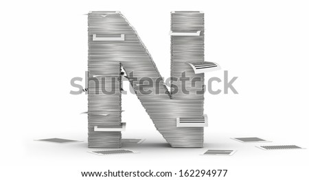 Letter N, from stacks of paper pages font - stock photo