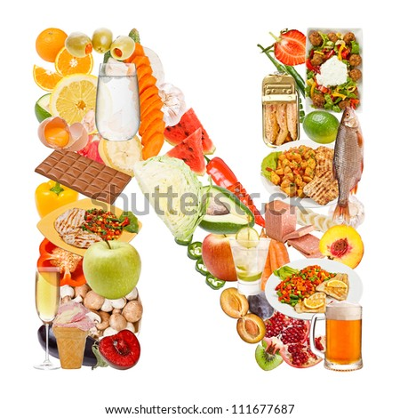 Letter N made of food isolated on white background - stock photo
