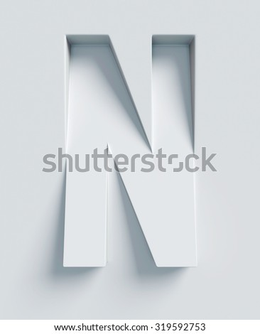 Letter N slanted 3d font engraved and extruded from the surface - stock photo