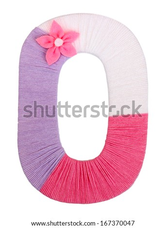 Letter O created with brightly colored knitting yard isolated on white - stock photo