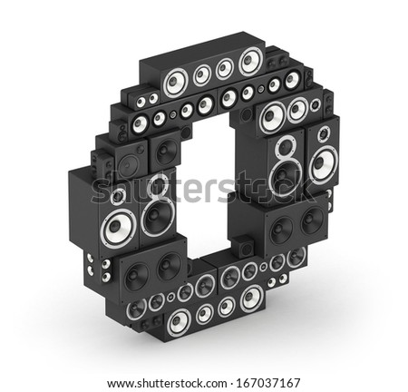 Letter O from black hi-fi speakers sound systems  in isometry - stock photo