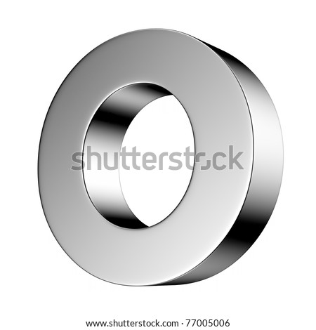 Letter O from chrome solid alphabet. There is a clipping path - stock photo