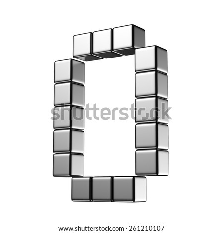 Letter O from digital cube middle perspective alphabet. There is a clipping path - stock photo