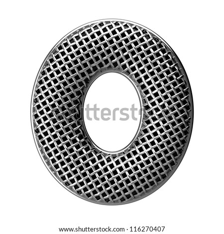 Letter O from round microphone style alphabet. There is a clipping path - stock photo
