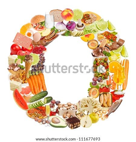 Letter O made of food isolated on white background - stock photo