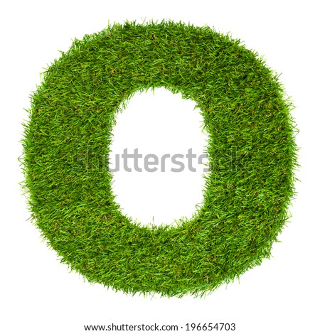 Letter O made of green grass isolated on white - stock photo
