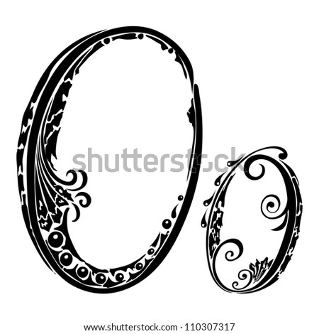 Letter O o in the style of abstract floral pattern on a white background - stock photo