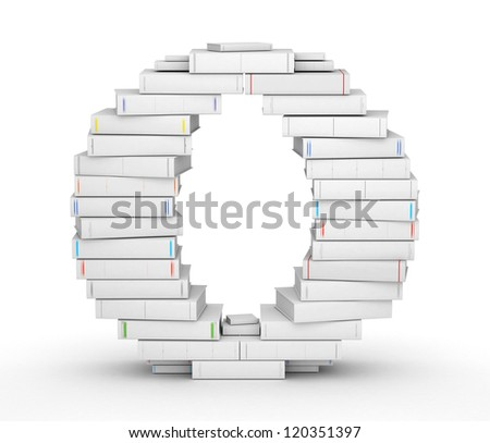 Letter O, stacked from many blank title books in column - stock photo