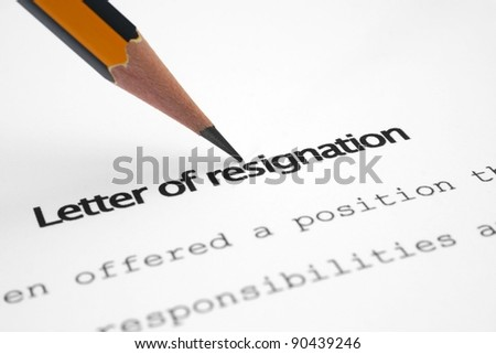Letter of resignation - stock photo