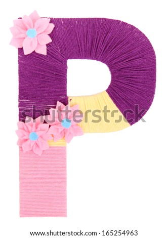 Letter P created with brightly colored knitting yard isolated on white - stock photo