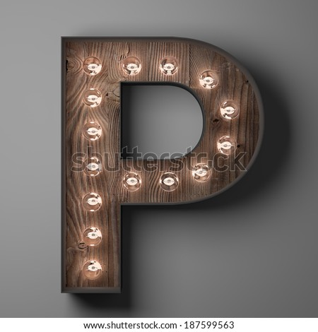 Letter P for sign with light bulbs - stock photo