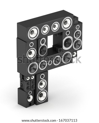 Letter P from black hi-fi speakers sound systems  in isometry - stock photo