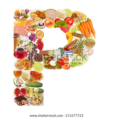 Letter P made of food isolated on white background - stock photo
