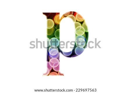 "Letter ""p"" of Bokeh Alphabet - stock photo"