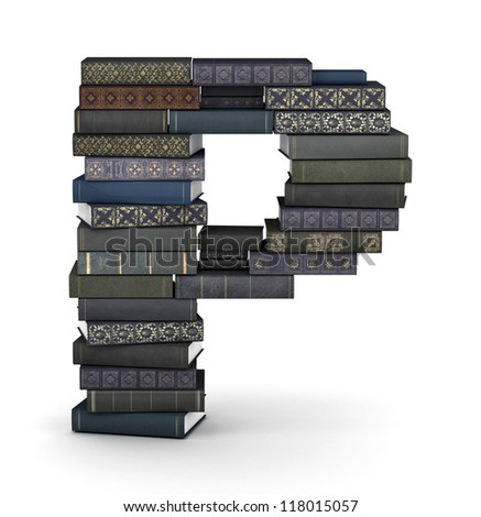 Letter P, stacked from many  books in pile - stock photo
