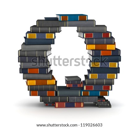 Letter Q, stacked from many encyclopedia books in pile - stock photo