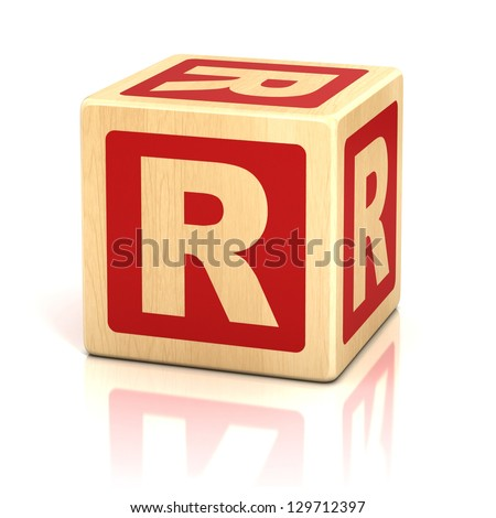 letter r alphabet cubes font - stock photo