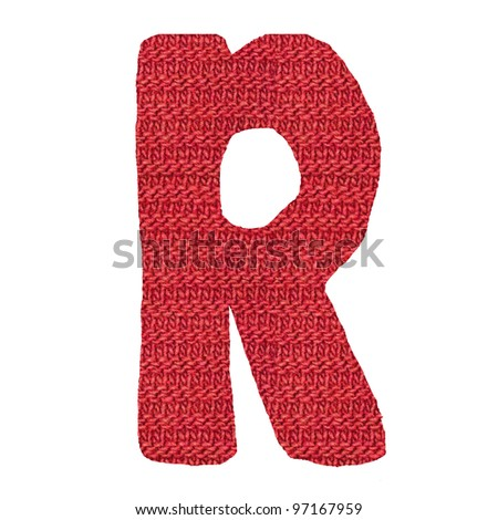 letter R alphabet, knitted spokes structure - stock photo