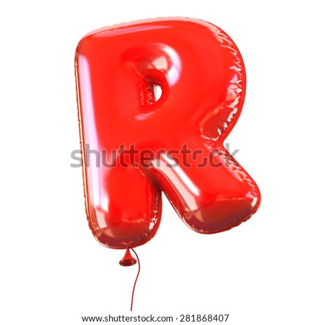 letter R balloon font - stock photo