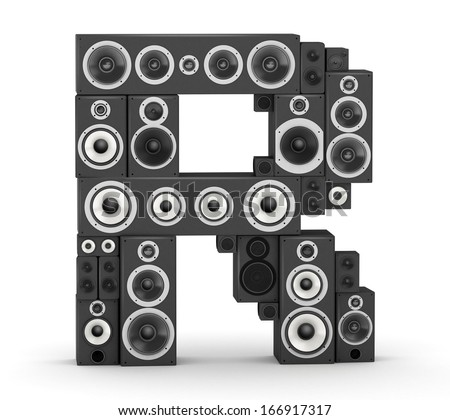 Letter R  from black hi-fi speakers sound systems - stock photo