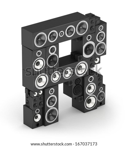 Letter R from black hi-fi speakers sound systems  in isometry - stock photo