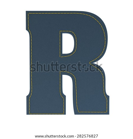 letter r from denim - jeans, on a white background, high specification of fabric, it is stitched by the yellow high-detailed threads - stock photo