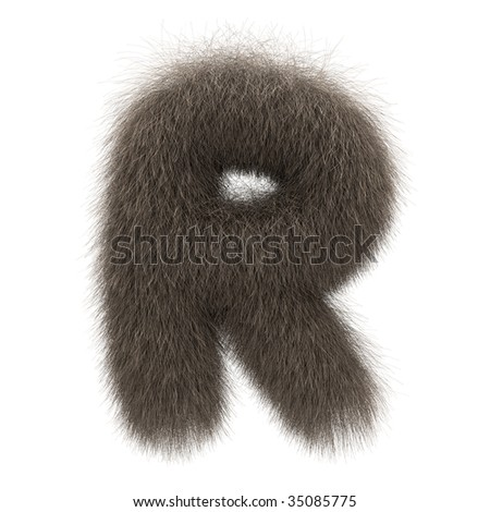 Letter R from fur alphabet - stock photo