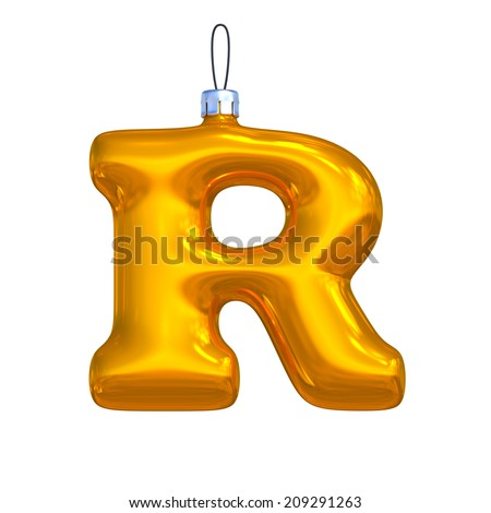 Letter R. Golden shining christmas ball. Alphabet isolated on white background. - stock photo