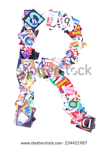 Letter R made of colorful newspaper letters isolated on white - stock photo