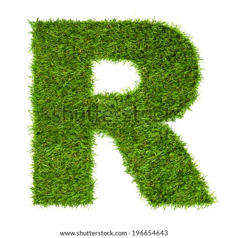 Letter R made of green grass isolated on white - stock photo