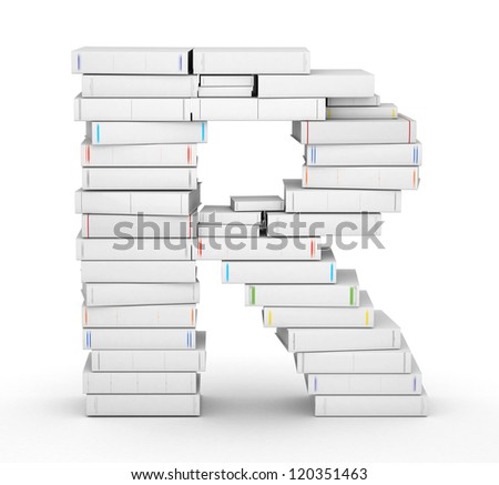 Letter R, stacked from many blank title books in column - stock photo