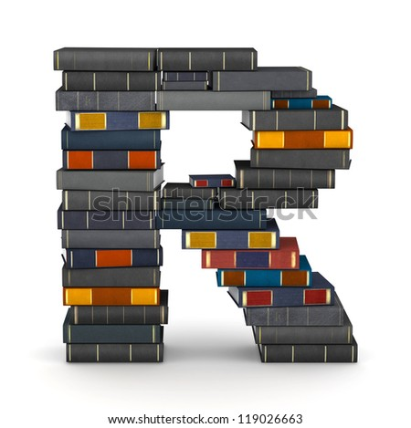 Letter R, stacked from many encyclopedia books in pile - stock photo