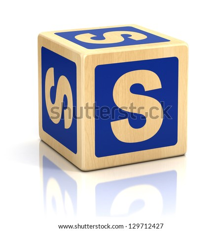 letter s alphabet cubes font - stock photo