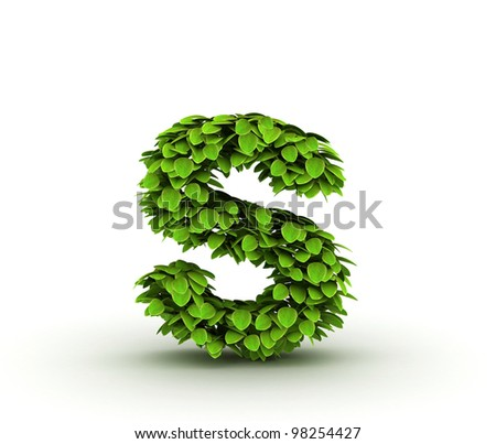 Letter  s, alphabet of green leaves, small caps - stock photo