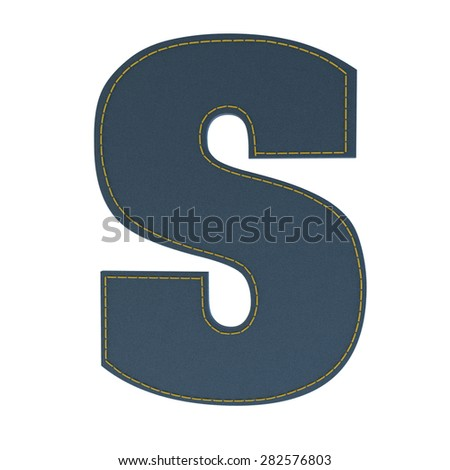 letter s from denim - jeans, on a white background, high specification of fabric, it is stitched by the yellow high-detailed threads - stock photo