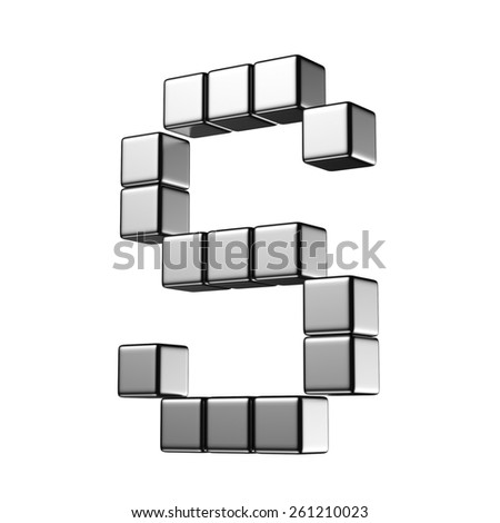 Letter S from digital cube middle perspective alphabet. There is a clipping path - stock photo