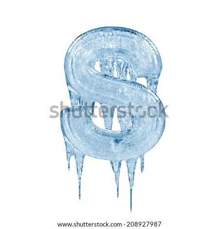 Letter S. Ice font isolated on white background. Alphabet. - stock photo