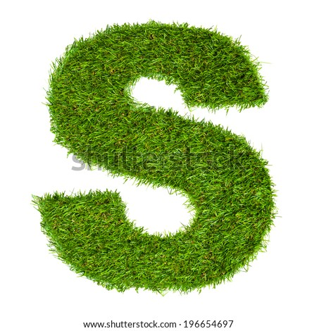 Letter S made of green grass isolated on white - stock photo