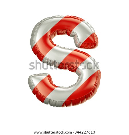 Letter S. Red and white Balloon font isolated on White Background.Birthday alphabet. - stock photo