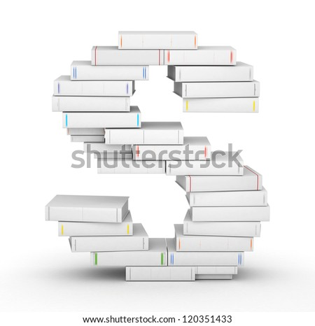 Letter S, stacked from many blank title books in column - stock photo