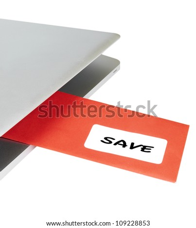 Letter SAVE flying out of modern laptop - stock photo