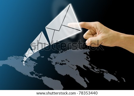 Letter send from America map, Concept - stock photo