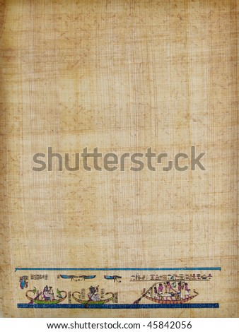 letter shaped sheet of Egyptian papyrus paper, with a traditional burial scene - stock photo