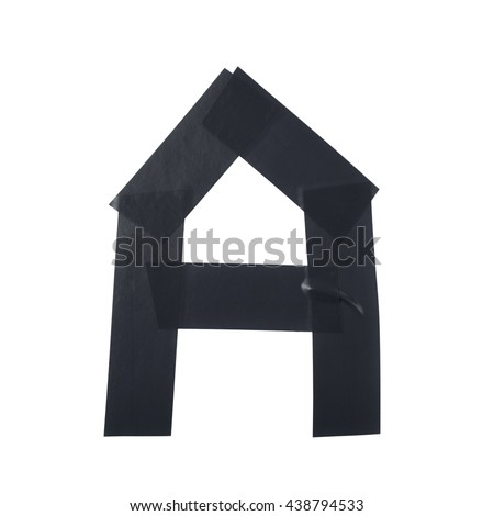Letter symbol made of insulating tape pieces, isolated over the white background - stock photo