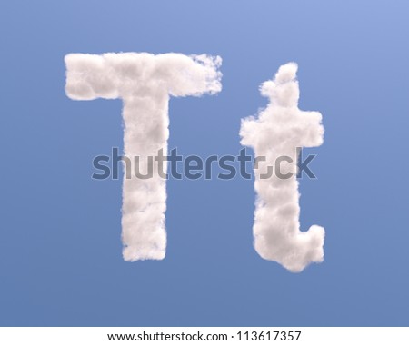 Letter T cloud shape, isolated on white background - stock photo