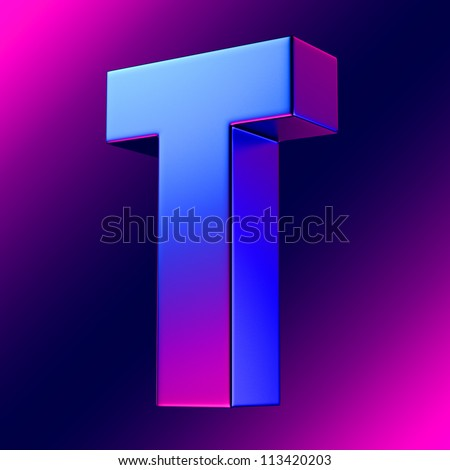Letter T from blue-magenta solid alphabet. There is a clipping path - stock photo