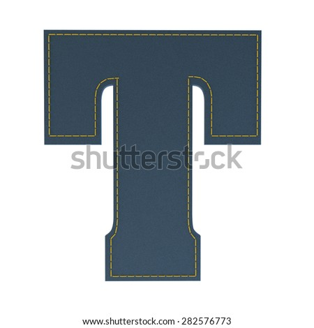 letter t from denim - jeans, on a white background, high specification of fabric, it is stitched by the yellow high-detailed threads - stock photo